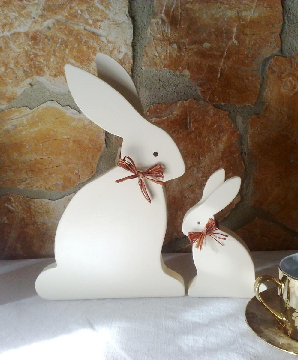 Coniglietti in legno Shabby Chic
